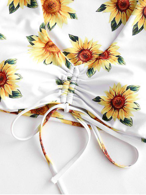 shops ZAFUL Sunflower Floral Tie Cinched Three Piece Swimsuit - MUSTARD S Mobile