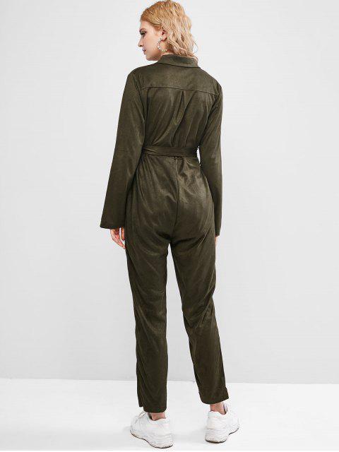 Maxi Jumpsuit mit Knopfleiste und Gürtel - Armeegrün M Mobile