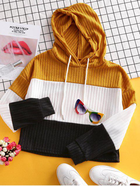 shops Color-blocking Hooded Drop Shoulder Knit Sweater - YELLOW S Mobile