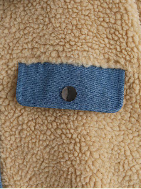 ZAFUL Denim Insert Tropfen Schulter Teddy Jacke - Multi-A M Mobile