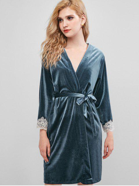 Spitzenbesatz Samt Nightgownrobe Set - Blaugrau L Mobile