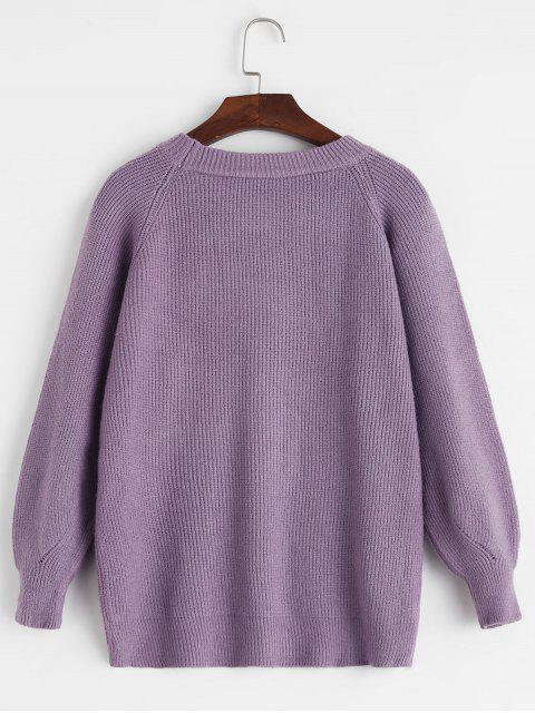 插肩袖圓領Pointelle針織衫 - 紫色 One Size Mobile