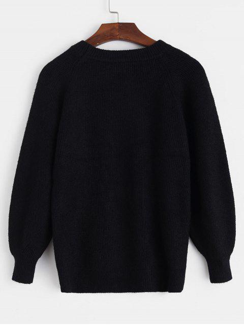 插肩袖圓領Pointelle針織衫 - 黑色 One Size Mobile