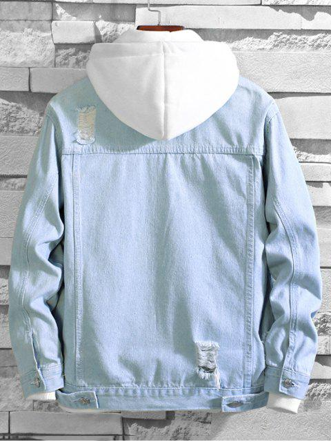 latest Solid Color Ripped Decorated Denim Jacket - LIGHT BLUE M Mobile