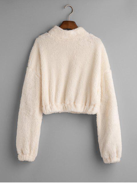 Loshälfte Zip-Tropfen Schulter Fluffy Sweatshirt - Weiß S Mobile