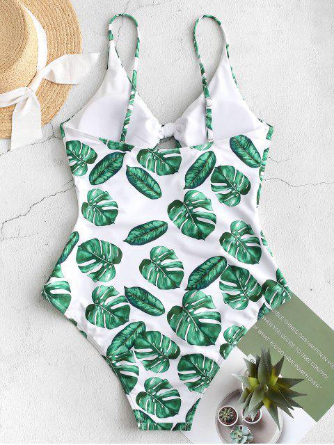 women's ZAFUL Cutout Knot Tropical Leaf Swimsuit - JUNGLE GREEN L Mobile