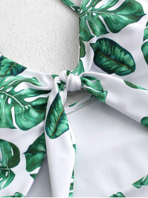ZAFUL鏤空結熱帶葉泳裝 - 叢林綠色 M Mobile