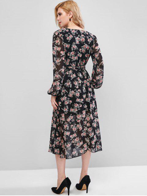 ZAFUL Robe Superposée Fleurie Ceinturée à Manches Longues à Volants - Noir S Mobile