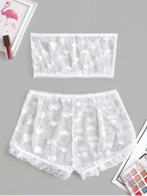 心臟薄紗網狀掀動Bandeau手文胸套裝 - 白色 L Mobile