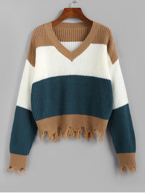 fancy ZAFUL Colorblock Frayed Sweater - MULTI S Mobile