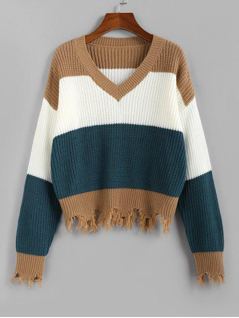 unique ZAFUL Colorblock Frayed Sweater - MULTI M Mobile