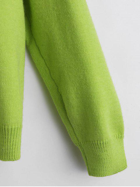 ラインストーン犬グラフィック特大セーター - 緑 ワンサイズ Mobile