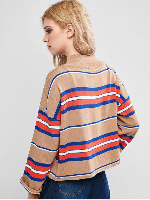 womens Mock Neck Striped Knitwear - KHAKI ONE SIZE Mobile
