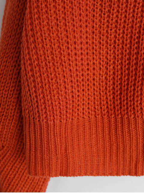 chic Solid Tie Back V Neck Jumper Sweater - ORANGE M Mobile