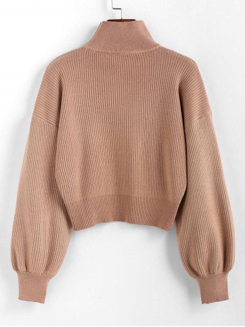 womens ZAFUL High Neck Drop Shoulder Plain Sweater - LIGHT BROWN L Mobile