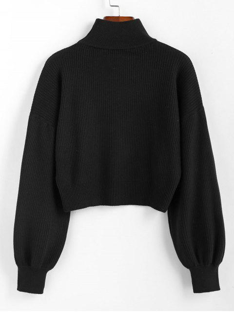 fancy ZAFUL High Neck Drop Shoulder Plain Sweater - BLACK S Mobile