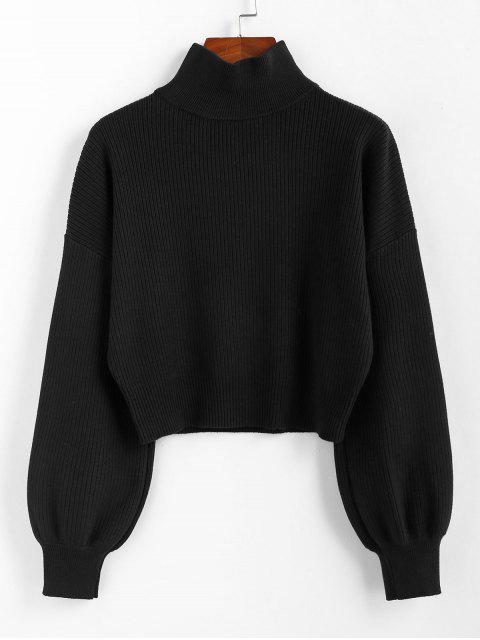 unique ZAFUL High Neck Drop Shoulder Plain Sweater - BLACK M Mobile