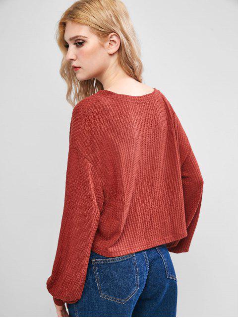 ladies ZAFUL Lantern Sleeves V Neck Solid Knitwear - CHESTNUT XL Mobile