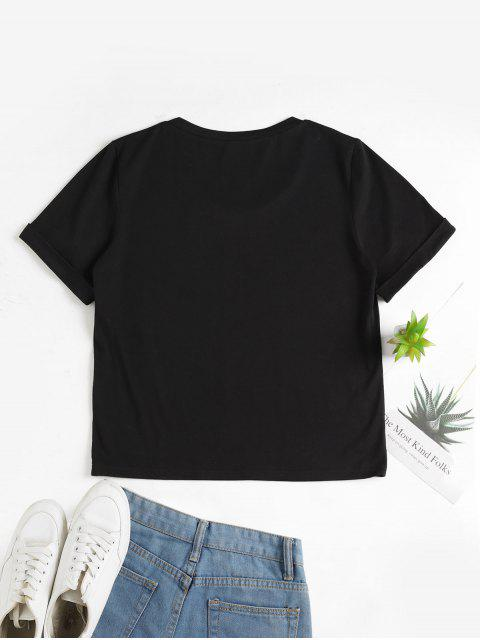 women ZAFUL Floral Slogan Graphic Cuffed Sleeve Basic Tee - BLACK L Mobile