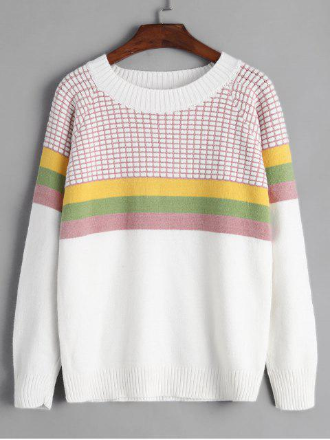 chic Crew Neck Intarsia Knit Stripes Panel Jumper Sweater - WHITE ONE SIZE Mobile