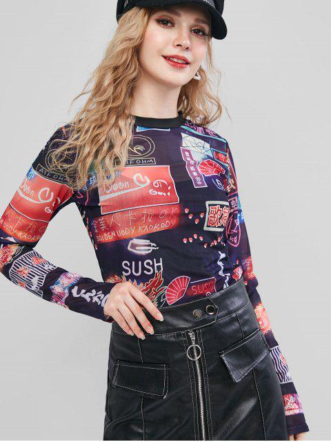 hot Letter Graphic Long Sleeve Mesh T-shirt - BLACK L Mobile