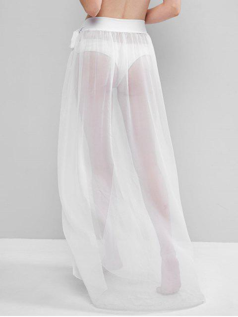 best Sheer Tie Maxi Wrap Skirt - WHITE ONE SIZE Mobile
