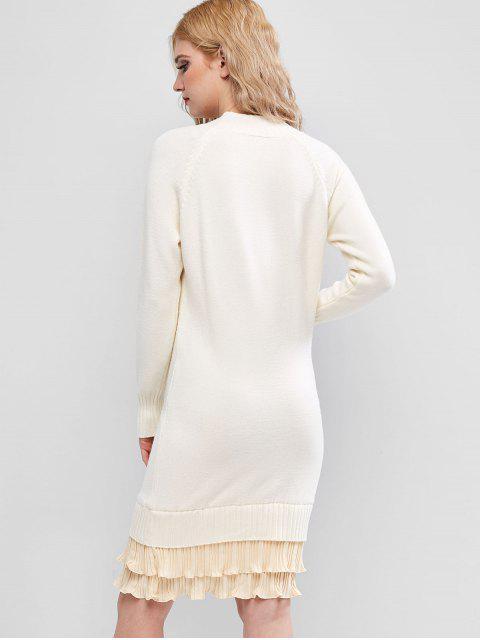 Robe Pull Ourlet Plissé à Col Montant - Blanc Chaud Taille Unique Mobile