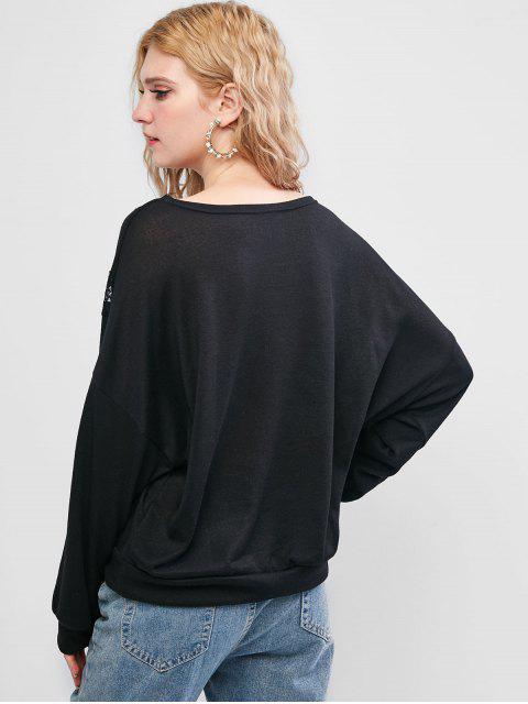 Camiseta Abombada Panel Encaje Hombro Caído - Negro M Mobile