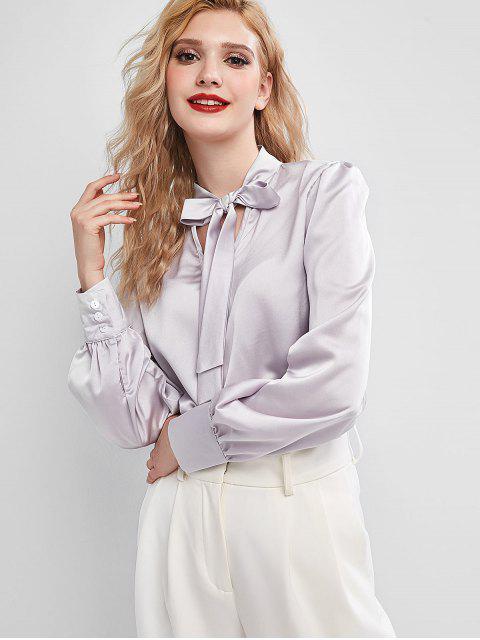 latest Bow Tie Neck Button Cuffs Satin Blouse - GRAY L Mobile