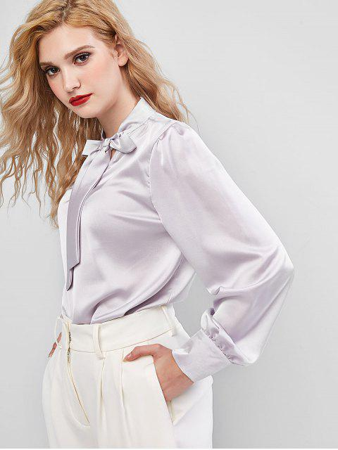 women's Bow Tie Neck Button Cuffs Satin Blouse - GRAY S Mobile