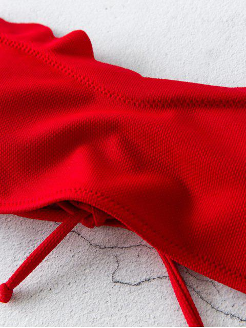ZAFUL Top de Biquíni Texturizados Scalloped Bandeau - Vermelho M Mobile