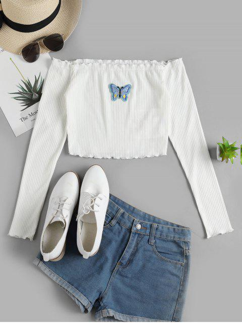 sale ZAFUL Off Shoulder Lettuce Butterfly Ribbed Tee - WHITE XL Mobile