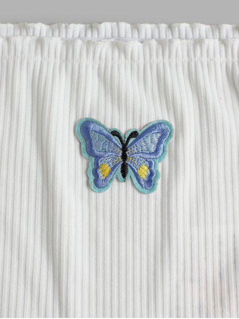 women ZAFUL Off Shoulder Lettuce Butterfly Ribbed Tee - WHITE M Mobile
