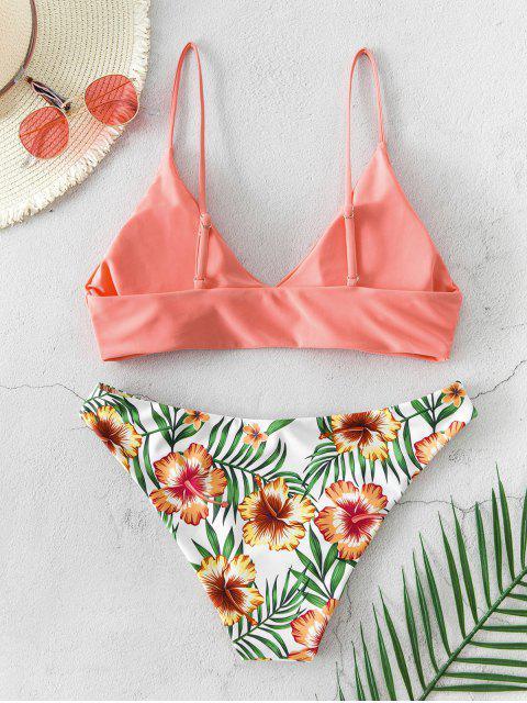 ZAFUL Bikini Floral con Estampado de Hojas - Rosa Naranja M Mobile