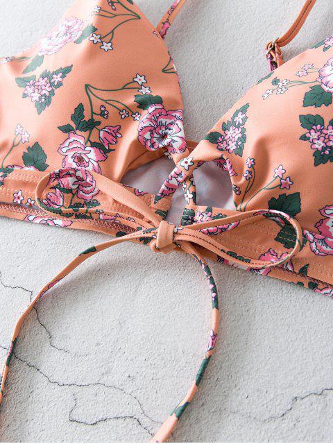 ZAFUL Bikini Floral con Lazo Delantero - Rosa L Mobile