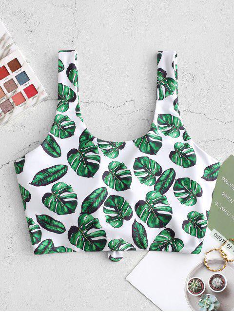 womens ZAFUL Palm Leaf Knot Cropped Bikini Top - JUNGLE GREEN 2XL Mobile