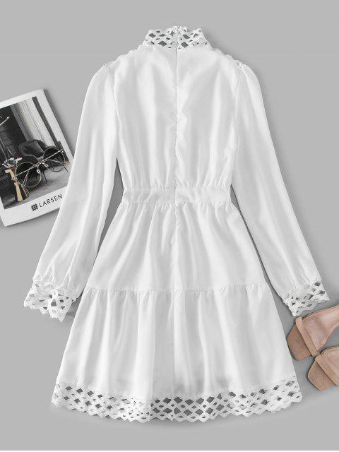 Vestido Cuello Alto con Ganchillo - Blanco L Mobile