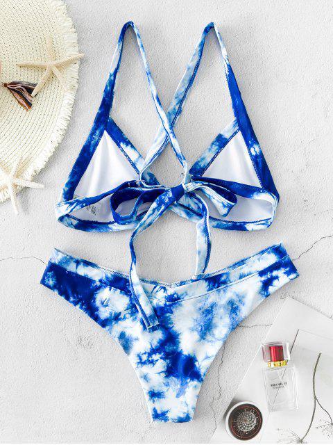 ZAFUL Bikini Bralette Cruzado de Teñido de Corbata - Azul de Arándanos L Mobile