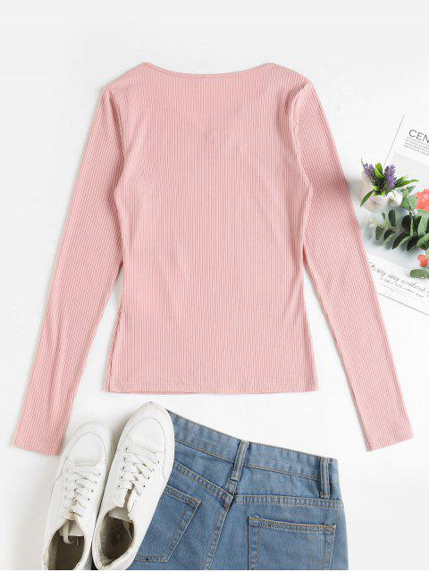 outfit ZAFUL V Neck Ribbed Solid Tee - PINK ROSE L Mobile