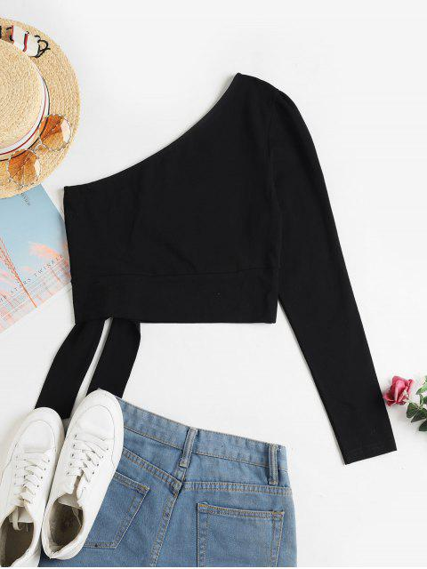 fashion ZAFUL One Shoulder Knotted Crop Tee - BLACK M Mobile