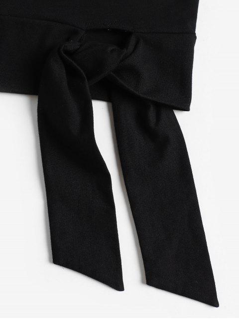 ZAFUL Camiseta Corta de Un Hombro con Nudo - Negro L Mobile