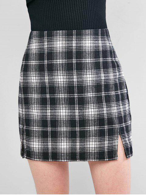 outfits ZAFUL Plaid Slit A Line Skirt - BLACK XL Mobile