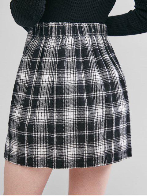shop ZAFUL Plaid Slit A Line Skirt - BLACK S Mobile