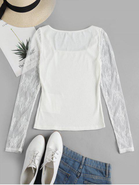 ZAFUL T-shirt Côtelé Moulant à Manches en Dentelle en Couleur Unie - Blanc S Mobile