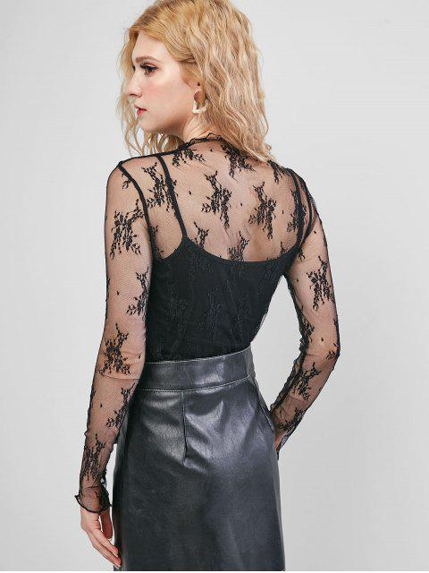 lady Sheer Floral Lace Top - BLACK ONE SIZE Mobile