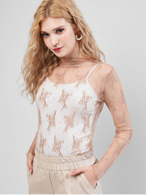 hot Sheer Floral Lace Top - TAN ONE SIZE Mobile