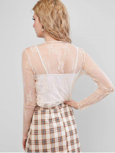 online Sheer Floral Lace Top - APRICOT ONE SIZE Mobile