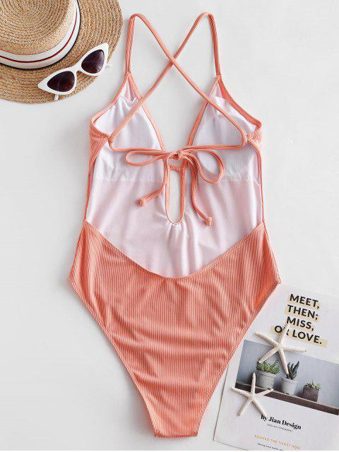 best ZAFUL Ribbed Criss Cross High Cut One-piece Swimsuit - ORANGE PINK L Mobile