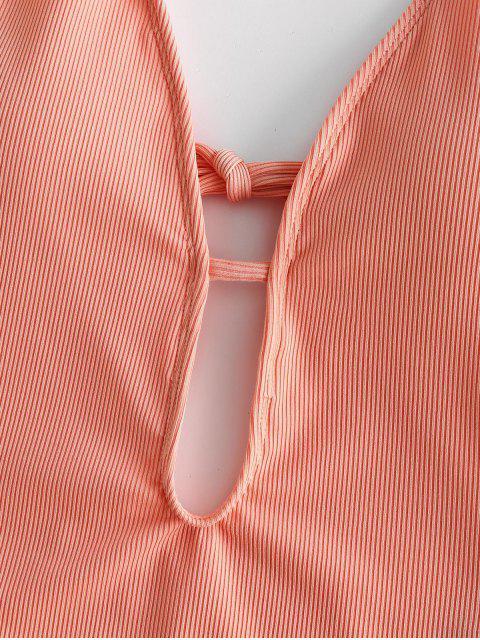 ZAFUL Maillot de Bain Côtelé Croisé à Coupe Haute Une-Pièce - Orange Rose XL Mobile