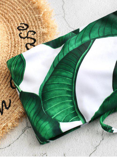 shops ZAFUL Palm Leaf Lace-up Bandeau Bikini Swimsuit - WHITE S Mobile